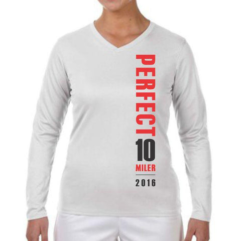 Perfect 10 Miler: 'Map' Women's LS Tech V-Neck Tee - White - by New Balance