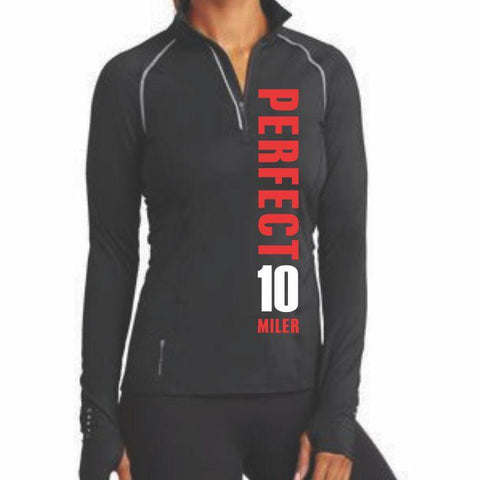 Perfect 10 Miler: 'Left Chest Print - Vertical' Women's Tech 1/4 Zip Pullover - Black - by OGIO