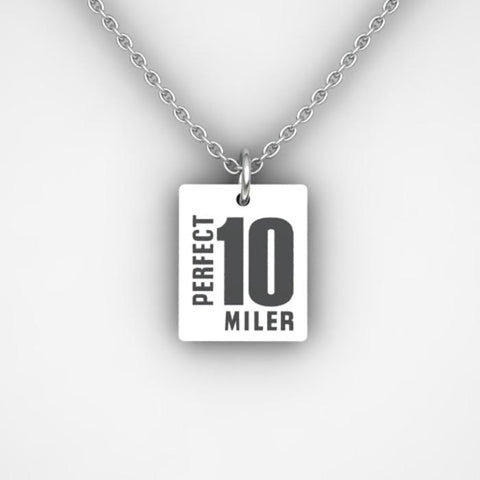 "Perfect 10 Miler: 'Event Logo' 18"" Chain & Charm - Silver - by Scott James"