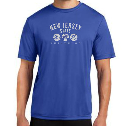 NJ State Triathlon: 'Collegiate' Men's SS Tech Tee - Royal