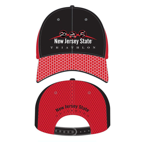 NJ State Triathlon: 'Event Logo' Tech Trucker - Black /Red - by Headsweats