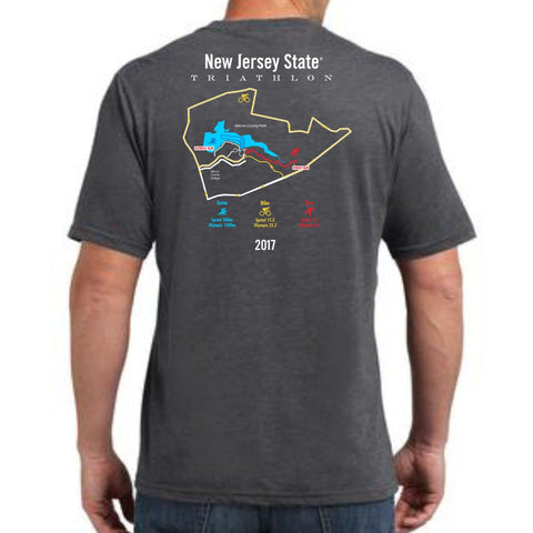 NJ State Triathlon: '2017 Course Map' Men's SS Tech Tee - Carbon
