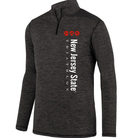 NJ State Triathlon: 'Left Chest Print' Men's Heathered Pullover 1/4 Zip - Black Heather