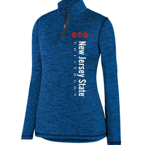 NJ State Triathlon: 'Left Chest Print' Women's Heathered Pullover 1/4 Zip - Royal Heather