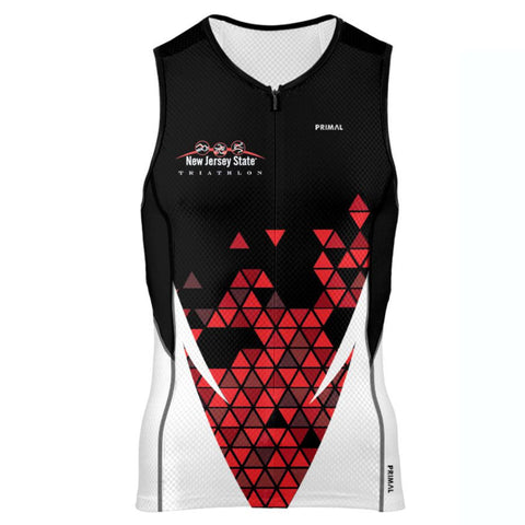 NJ State Triathlon: 'Event Logo' Men's Sleeveless Performance 3/4 Zip Tri-Top - Black / Red Pattern - by Primal