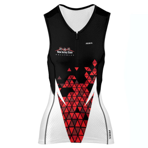 NJ State Triathlon: 'Event Logo' Women's Sleeveless Performance 3/4 Zip Tri-Top - Black / Red Pattern - by Primal