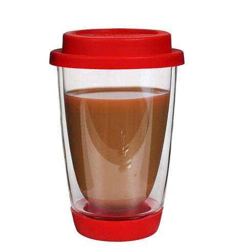 Double Wall Heat-resistant Glass Coffee or Tea Mug+ Silicon Lid - 350ml (12oz)