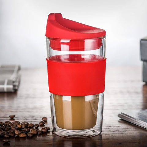 Designer Double Walled Coffee Mug With Lid Silica Gel Cover