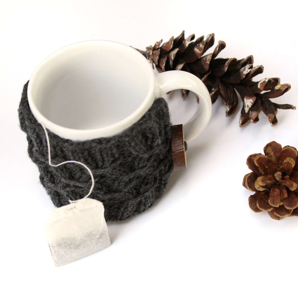 SwellKnits: Hygge Knit Coffee Cup Cozy - Mug Sweater with Coaster Bottom