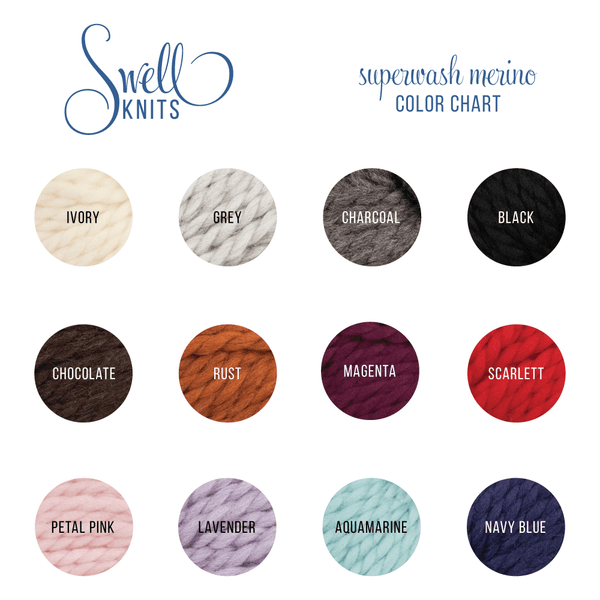 Chunky 100% Merino Yarn Color Chart