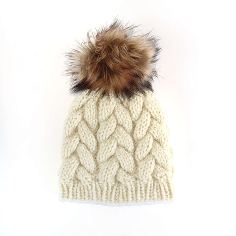 Cable Knit Hat with Pom Pom in Ivory by Swell Knits