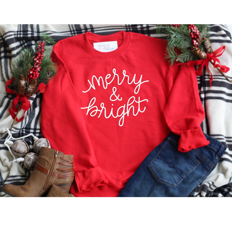 Merry and Bright Red Christmas Crew neck boyfriend style sweatshirt