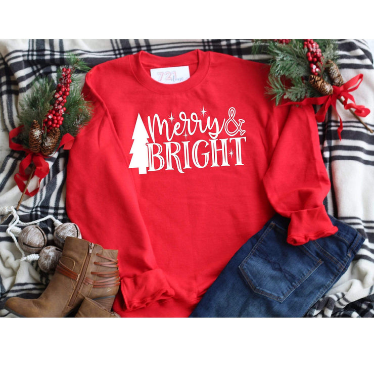 Boyfriend fit Crew neck Merry and bright sweatshirt for holiday time - 721 Done