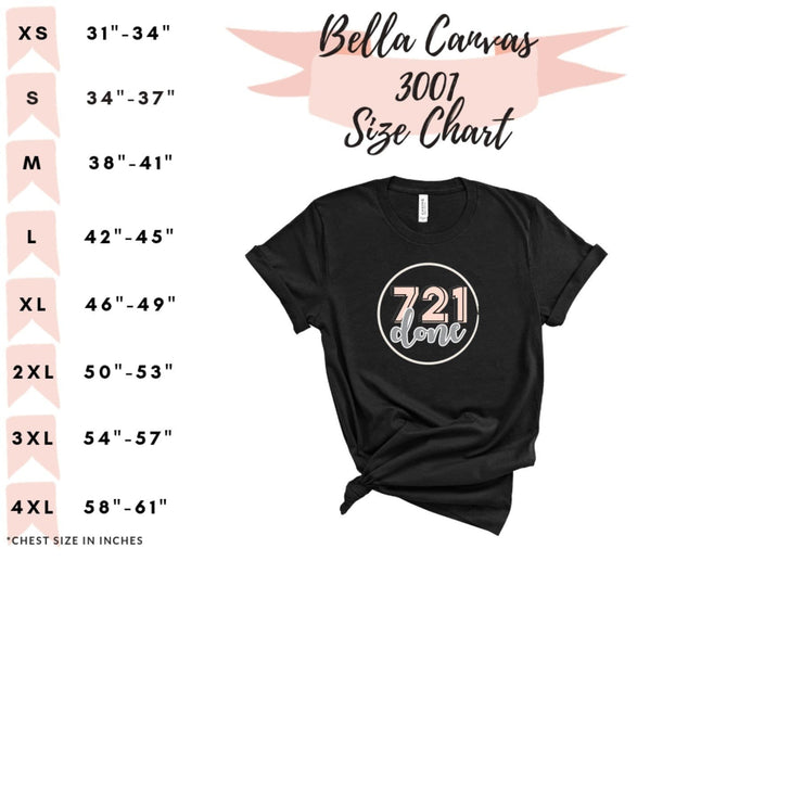 size chart to left with letter and number size shirt to the right with 721 done logo