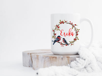 Personalized name coffee mug with cardinal birds - wreath | Coffee Mug