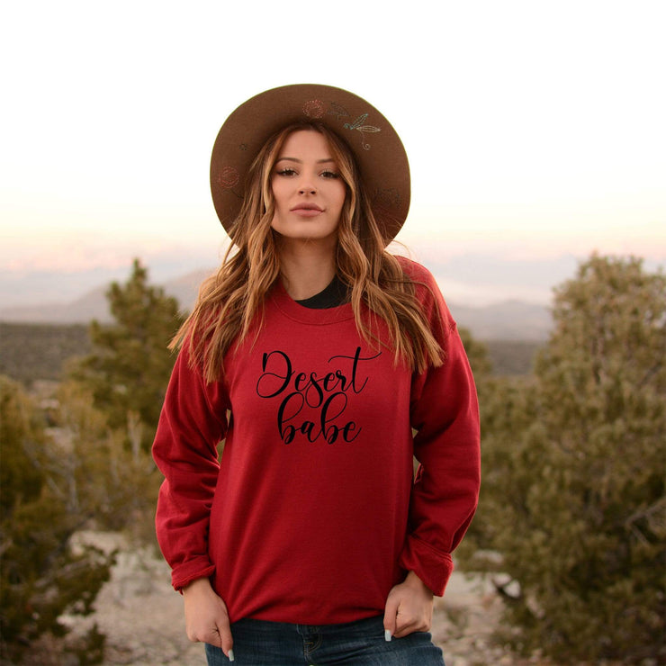 Desert Babe Red fleece boyfriend style crewneck sweatshirt - 721 Done