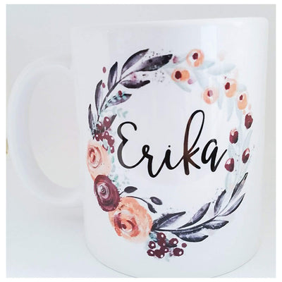 11 oz or 15 oz Personalized coffee mug with name inside floral wreath - 721 Done