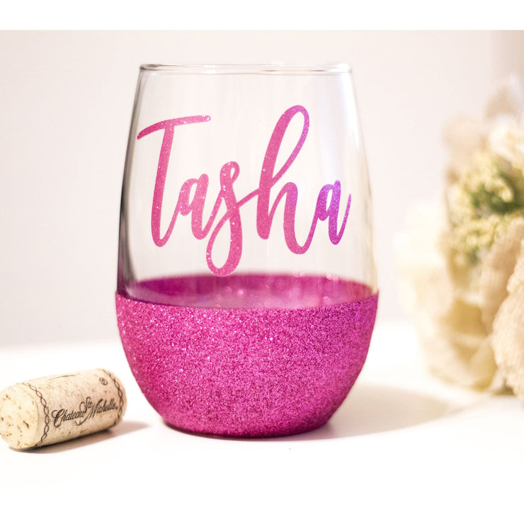 personalized pink rasberry wine glass