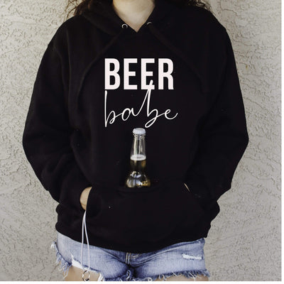Beer Babe Hoodie with sewn in Can cooler