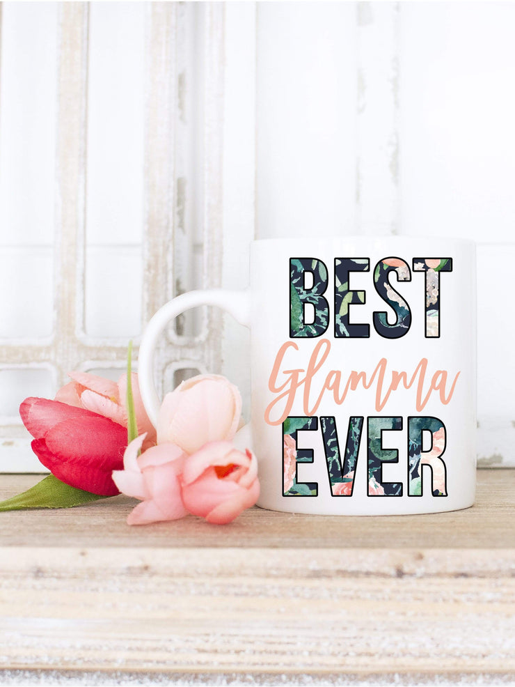 Best Glamma Ever Floral Print Coffee Mug
