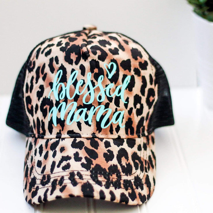 Blessed Mama Leopard snap back trucker hat - Turquoise Mint - Leopard