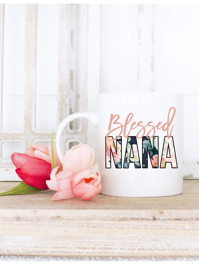 Blessed Nana Floral Print Coffee Mug gift for Grandma | 721 Done - 721 Done