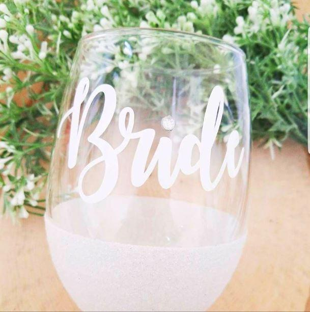 Stemless wine glass for Brides glittered with rhinestone accent