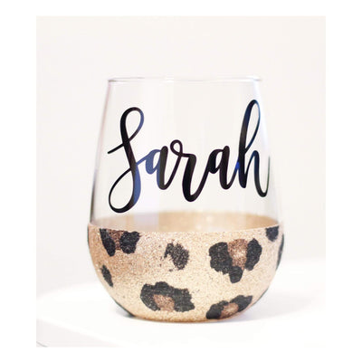 Cheetah Print personalized glitter stemless wine glass with name 21 oz - 721 Done