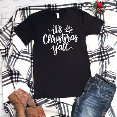 It's christmas y'all casual Christmas holiday t-shirts for women