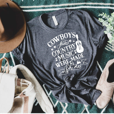 cowboys and country music were made for me concert festival t shirt in charcoal grey