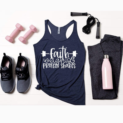 Faith Weights and Protein Shakes Fitness Tank