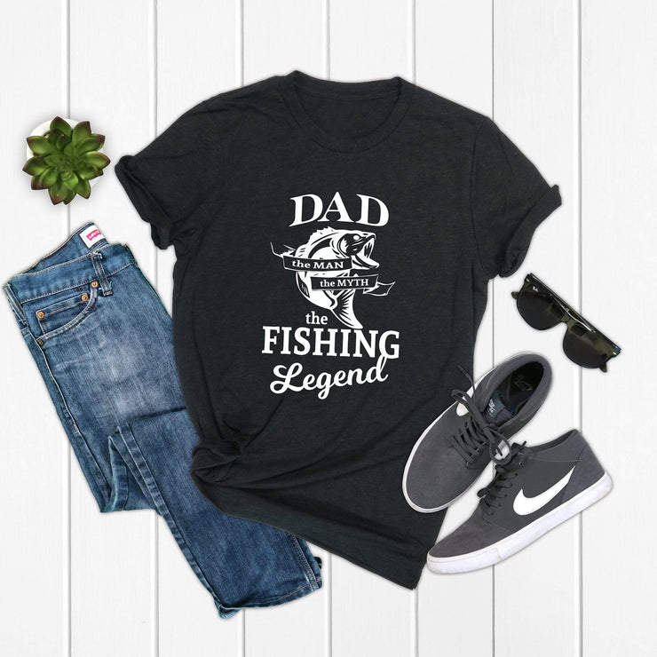 dad fishing legend black tee