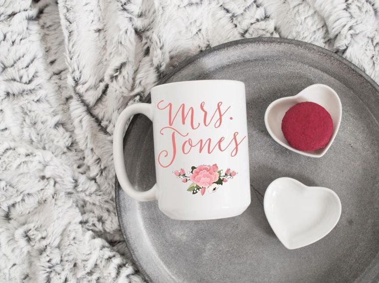 Mrs. Coffee Mug with last name - Teacher Gifts - Bridal shower gift