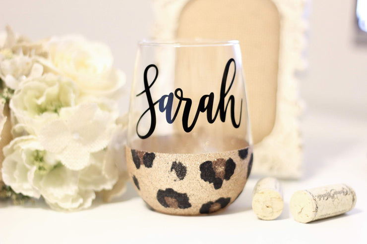 Leopard print personalized wine glass with name - leopard - cheetah wine glass - Glitter bridesmaid wine glass - animal print wine tumbler - 721 Done
