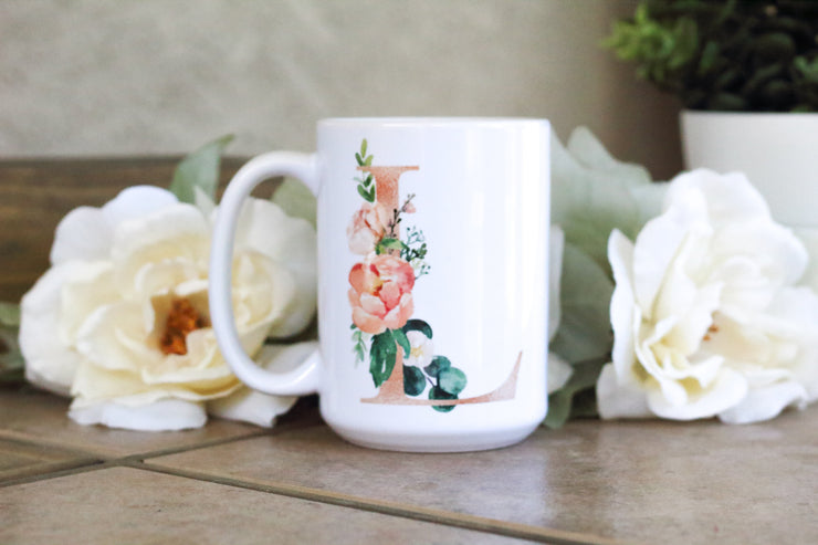 Monogram initial coffee mug with flowers - Personalized Mug with quote