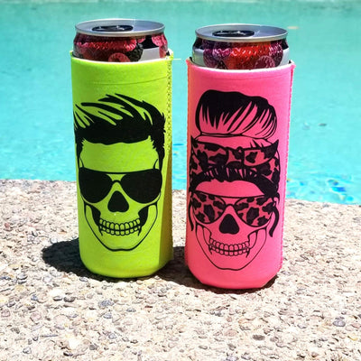 skinny can cooler neon green hot pink with skull in his and hers