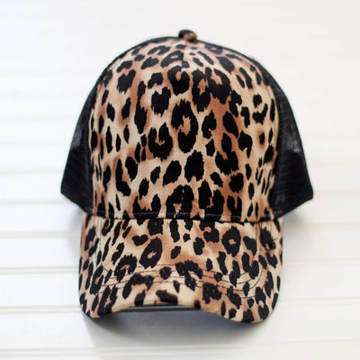 Black Leopard Mesh back trucker style womens snap back baseball hat