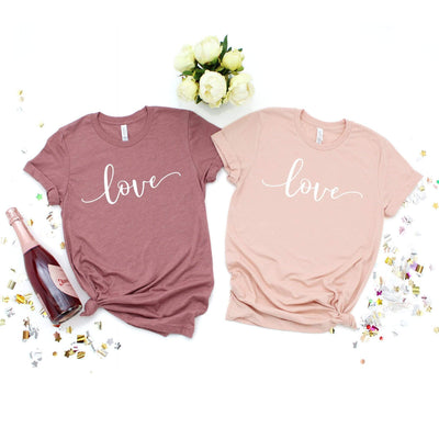 Love comfy boutique t-shirt for women in mauve or peach | 721 done