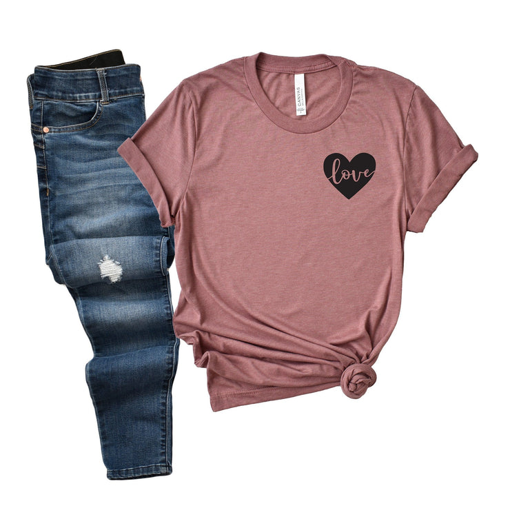 Love heart pocket t shirt for women Valentines Day