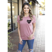 mauve t shirt with pocket logo style heart in black
