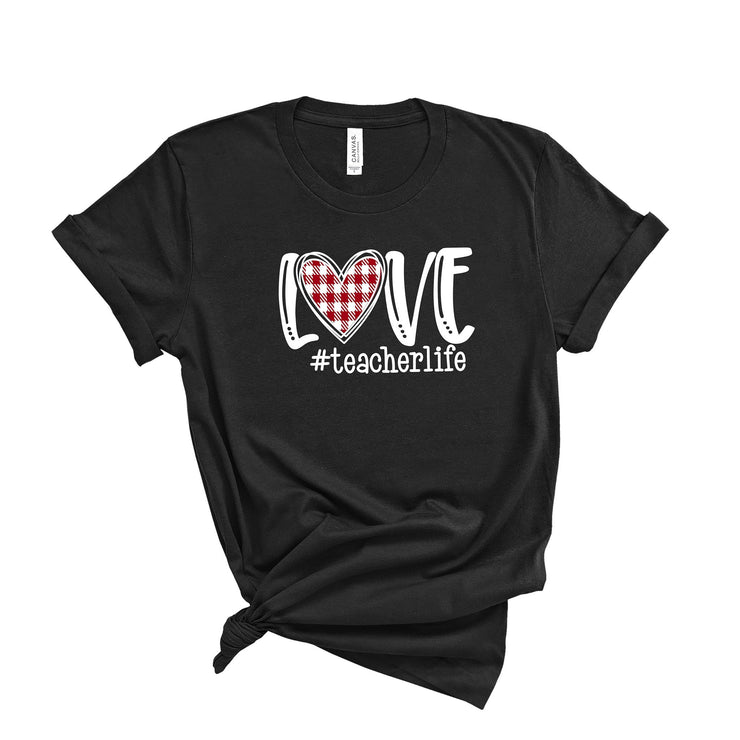 Love Teacher Life Buffalo plaid heart Valentines Day Teacher T shirts