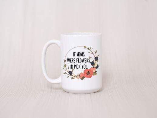 peach background white ceramic coffee mug with coral and olive wreath with quote in center