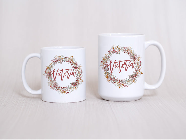 Personalized Holiday Wreath mug with name