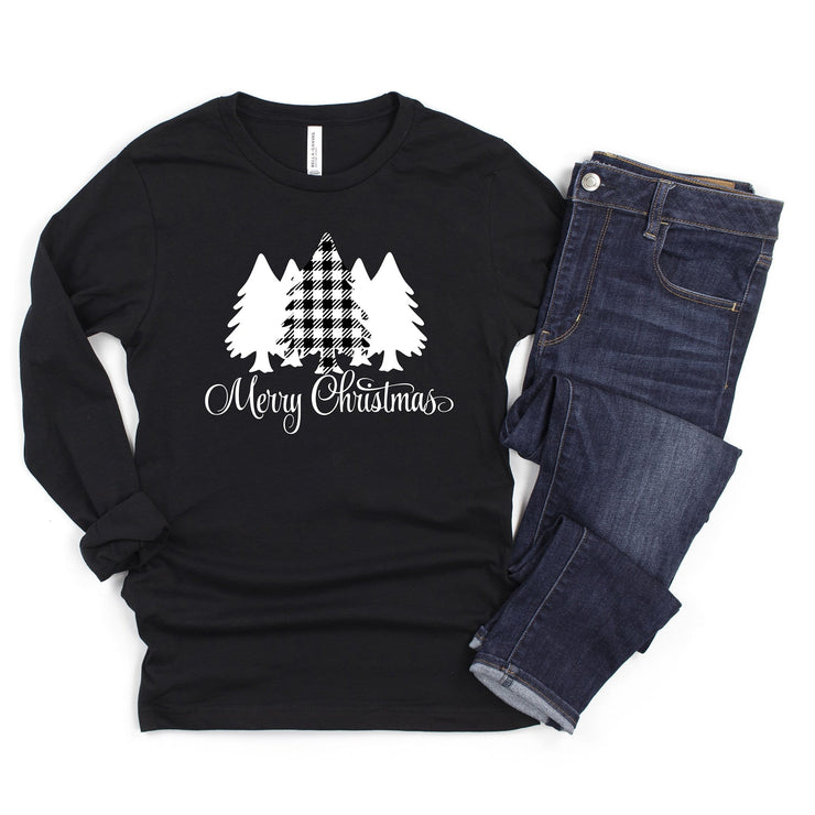 Merry Christmas plaid christmas tree set long sleeve black t shirt