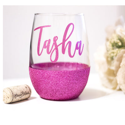 personalized stemless wine glass with pink glitter bottom