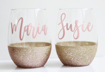 Personalized glittered stemless set of two wine glasses | Bestie gifts