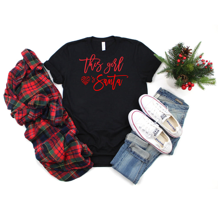 This girl loves santa black Christmas t shirt for women holiday christmas tee