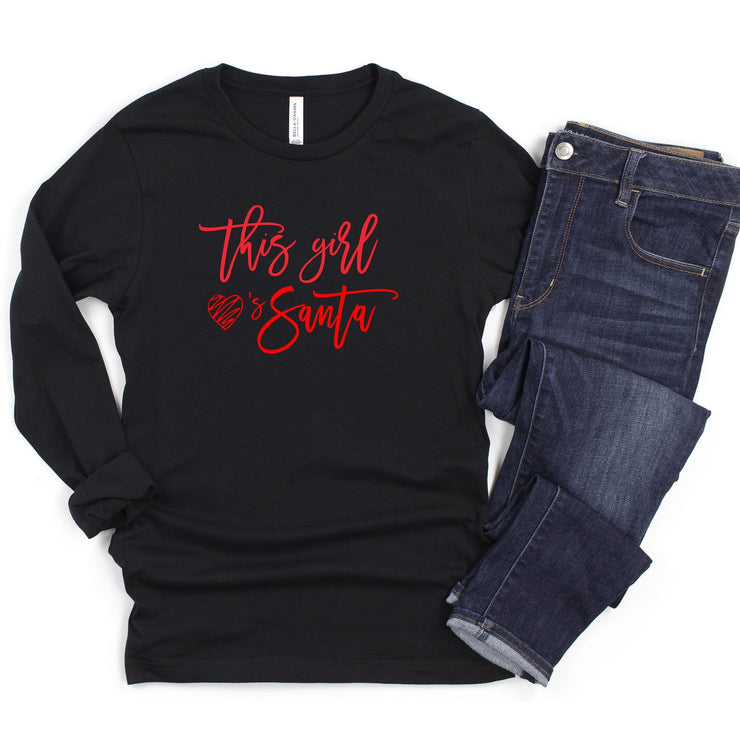 This girl loves santa black long sleeve Christmas t shirt for women holiday tee