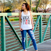 Vacay Mode Racerback White Tank Top | vacation apparel for her|721done