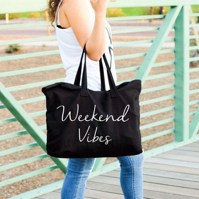 Weekend Vibes large custom zippered canvas black tote bag for women